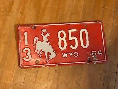 1964 Wyoming License Plate  • 10$