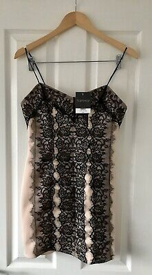 Topshop Nude Black Lace Cami Bodycon Dress Uk 10 New • 17£