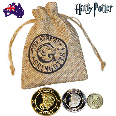 AU13.99 • Buy 2020 Harry Potter Magic Gringotts Wizardi Bank Coins Set 3 Coins In Pouch Props