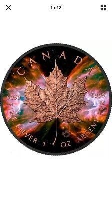 2016 1 Oz Silver BUTTERFLY NEBULA Maple Leaf Coin - Ruthenium, 24K Rose Gold. • 84.95$