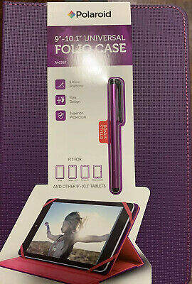 """£12.67 • Buy Polaroid Universal Tablet Folio Case For 9""""-10.1"""" - Purple/Pink With Stylus Pen"""