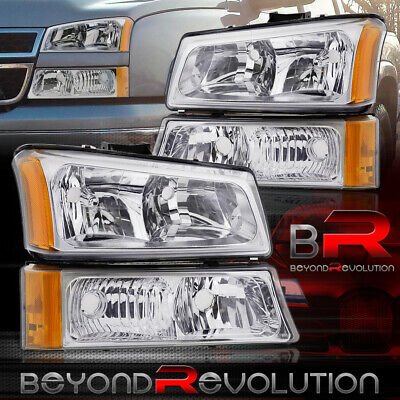 $76.99 • Buy For 03-06 Chevy Silverado 4Pc Chrome Amber Headlights + Clear Lens Bumper Lamps