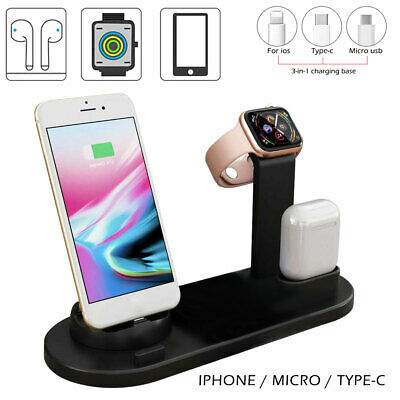 AU21.59 • Buy 3in1 Qi  Charger Fast Charging Dock Stand Fr Airpods Apple Watch IPhone Station