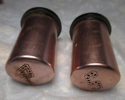 Vintage Mid Century COPPER Tone ALUMINUM Salt & Pepper Shakers USA Kitchenware  • 9.99$