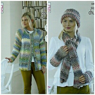 KNITTING PATTERN Ladies Easy Knit Jacket Hat Scarf Super Chunky King Cole 5456 • 3.95£