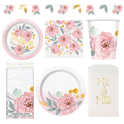 £5.88 • Buy Wedding Disposable Paper Party Tableware Banner Napkins Plates Cups Tablecover
