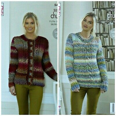 KNITTING PATTERN Ladies Cable Cardigan And Jumper Super Chunky King Cole 5458 • 3.95£