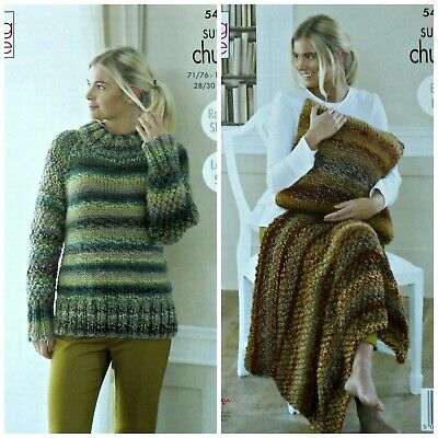 KNITTING PATTERN Ladies Easy Jumper Cushion Blanket Super Chunky King Cole 5461 • 3.95£