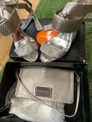 Karen Millen Shoes Size 39 And Matching Bag In Pewter/silver • 30£