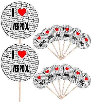 I Love Liverpool Party Food Cupcake Picks Sticks Flags Decorations Toppers • 4.99£