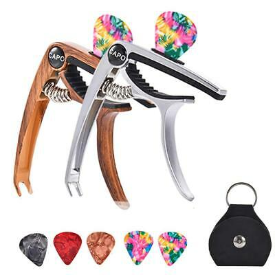 AU5.99 • Buy 5X Aluminum Capo Clamp With Picks Pick Holder For Electric Guitar Bass Ukulele