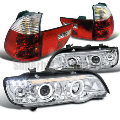$254.56 • Buy For 2001-2003 BMW X5 LED Halo Projector Headlights+Tail Brake Lights Red E53