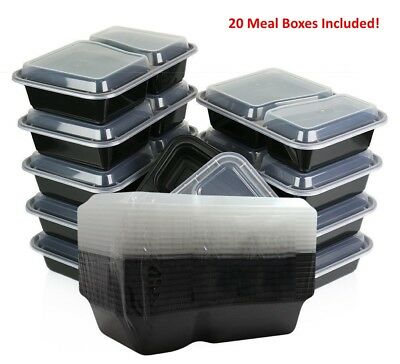 20pc Microwave 2 Compartment Plastic Lunch Box Food Storage Meal Prep Container • 9.95£
