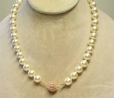 JOAN RIVERS GOLD EP 10mm CREAM CZECH GLASS BEAD ROSE PAVE CLASP 22  NECKLACE NEW • 22.49$