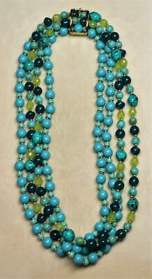 Joan Rivers Gold Ep Clasp 2 Strand Green Turquoise Glass Bead Necklace 44  L New • 6.99$