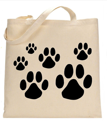 £6.49 • Buy Shopper Tote Bag Cotton Canvas Cool Pawprint Wolf Music Ideal Gift Present