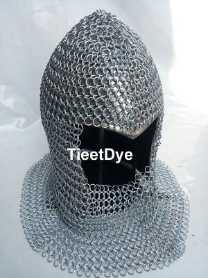 Chain Mail Coif Round-neck Chainmail Armour Chain-mail Hood Steel  • 39.99£