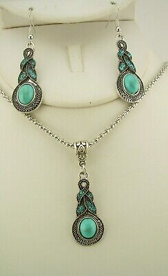 Joan Rivers Simulated Turquoise Necklace & Earring Set (w J R Romance Card) • 15.98$
