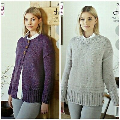 KNITTING PATTERN Ladies Easy Knit Textured Cardigan And Jumper Chunky 5498 • 3.95£