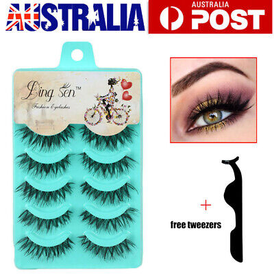 AU5.59 • Buy AU 10 Pairs 3D Natural Thick Fake False Eyelashes Extension Eye Lashes Makeup