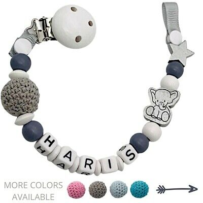 Dummy Clip Personalized Wooden Bead Pacifier Holder Baby Boy Girl Elephant • 7.90£