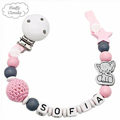 Dummy Clip Personalized Wooden Bead Pacifier Holder Soother Chain ~ Baby Girls • 7.90£