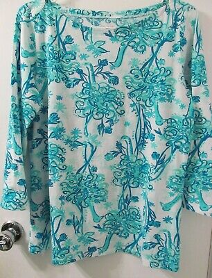 $23.16 • Buy LILLY PULITZER Women's Large Blue Peacocks Back It Up ANDIE TOP Knit Shirt