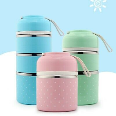 AU20.42 • Buy 3Layers Stainless Steel Thermal Insulated Bento Food Container Easy Lunch Box AU