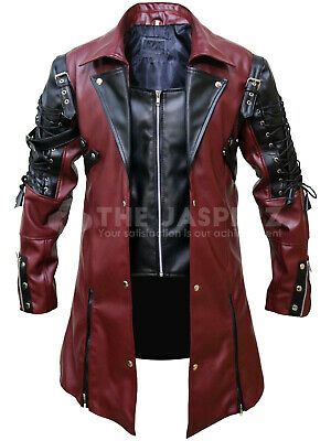 Steampunk Mens Gothic Maroon Leather Coat Jacket - Gothic Party Costume • 83£