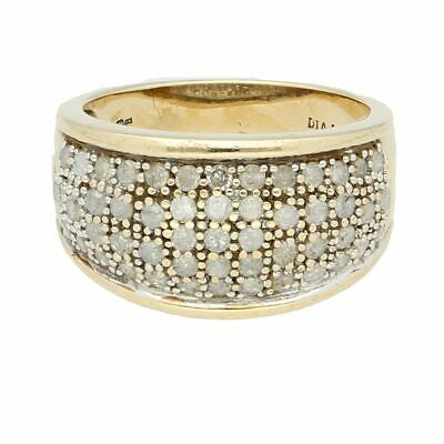 £299 • Buy 9Carat Yellow Gold 1.00ct Diamond Cluster Band (Size P) 12mm Widest