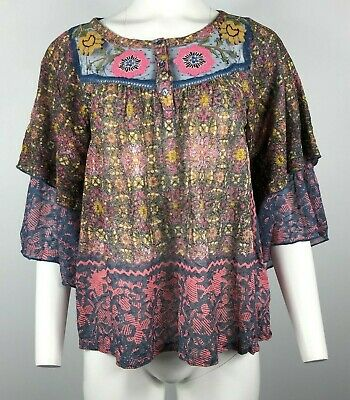 $ CDN33.13 • Buy ANTHROPOLOGIE POSTMARK Blouse Ciutadella Embroidered Floral Boho Medium #X18