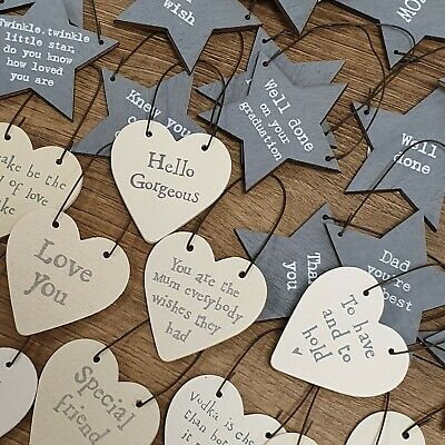 £1.68 • Buy Tiny Small Wood Heart Star Messages Gift Tags Signs Keepsakes Hanging Mini Note