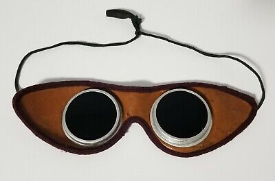 $44.99 • Buy Antique Vintage Leather Welding Glasses Goggles Steampunk Green Lenses