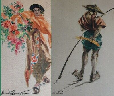 $ CDN188.04 • Buy Vintage Mid Century Signed Esther Wynn Water Color (Pair)