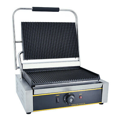 £169 • Buy Commercial Electric Griddle Contact Grill Grooved Panini Press Toaster Maker NEW