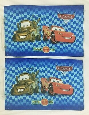 2 Disney CARS Tow MATER Piston Cup Lightning McQueen Pillowcases Double Sided • 14.28£
