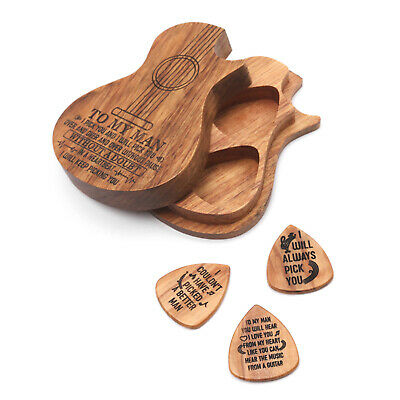 $ CDN16.94 • Buy Wooden Guitar Pick Box Holder Guitar Wood Container W/3pcs Olivewood Picks W5G0