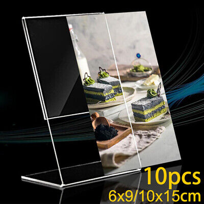 $4.64 • Buy 10pcs Acrylic Clear Sign Display Stand Table Desktop Office Business Card Holder