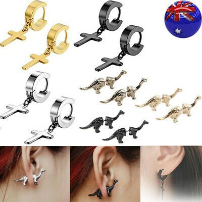 AU8.99 • Buy 6PCS Cross Dangle Earrings Women Men's Hoop Huggie Punk Earrings Stainless Steel