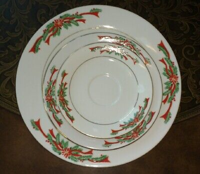 $8.99 • Buy Tienshan China Dinner Salad Plate Saucer White Red Poinsettia Ribbons Gold Trim