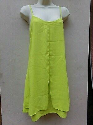 TOPSHOP Stunning Lime Green Strappy Low Back Cami Dress, Size 12 • 6.99£