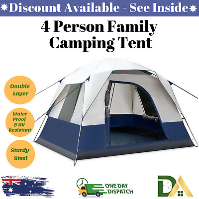 AU89.38 • Buy New 4 PERSON FAMILY CAMPING TENT Outdoor Four Man Backpacking Instant Tents