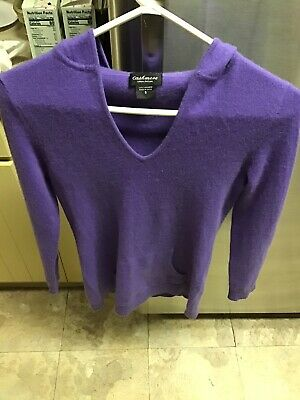 $24.95 • Buy Purple Cashmere Hoodie Sweater Pullover Front Pouch