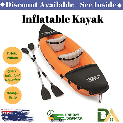 AU202.13 • Buy Bestway 2 Person Inflatable Kayak Pump Fishing Boat Canoe Double Seat Hydro New