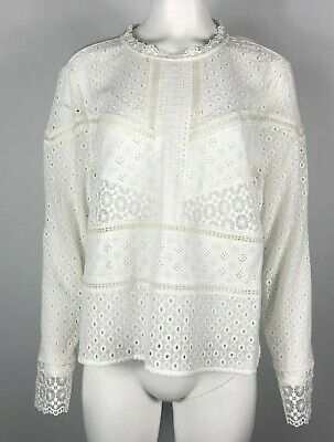 $ CDN81.63 • Buy JAMES COVIELLO Anthropologie Burham Blouse White Eyelet Long Sleeve XL #R05