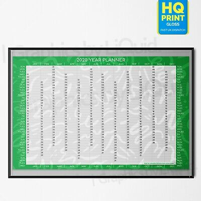 2020 Year Planner Annual Wall Chart In Green ✔Staff ✔Holidays | A4 A3 A2 A1 A0 | • 2.99£