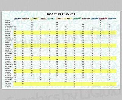 2020 Yearly Annual Wall Planner - Calendar Chart Yellow | A4 A3 A2 A1 A0 | • 2.99£