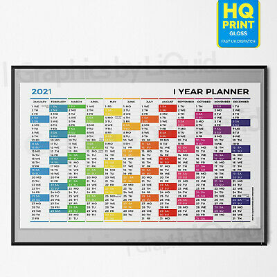 2020 Annual Yearl Wall Planner ✔Staff ✔Holidays Multi Coloured | A4 A3 A2 A1 A0 • 2.99£