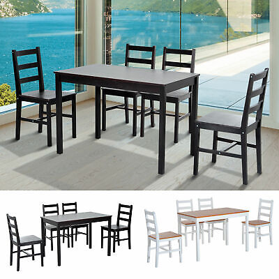 $219.99 • Buy 5pc Dining Table Chairs Set Solid Wood Kitchen Breakfast Dinette Furniture