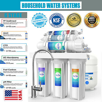 6 Stage PH Alkaline Reverse Osmosis Drinking Water Filter System Faucet Purifier • 38.32£